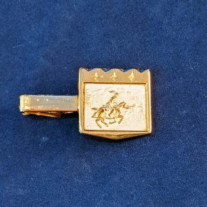 Jousting Knight Tie Clasp Gold & Silver Tone